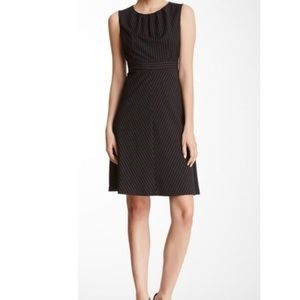Jones New York Pinstripe Fit & Flare Dress